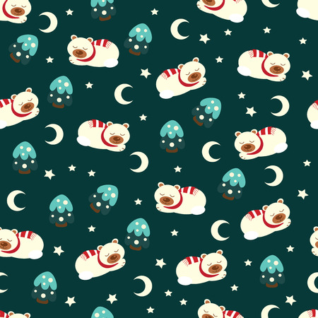 christmas seamless pattern: Christmas seamless pattern with sliping  bear, moon and fir