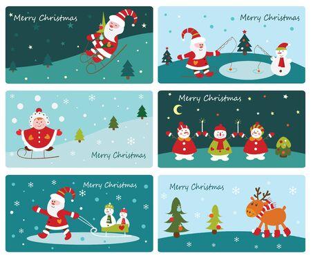 cartoon present: Set of Christmas cute banners with Santa, snowmen, kid girl and deer