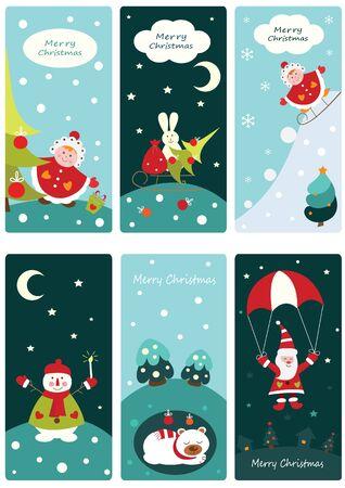 oso blanco: Conjunto de Navidad pancartas lindo con Santa, mu�eco de nieve, ni�o ni�a y dormir oso blanco