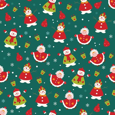 christmas seamless pattern: Christmas seamless pattern with cute snowmen, kid girl and gifts