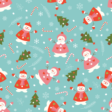 christmas seamless pattern: Christmas seamless pattern with snowmen and Christmas Trees