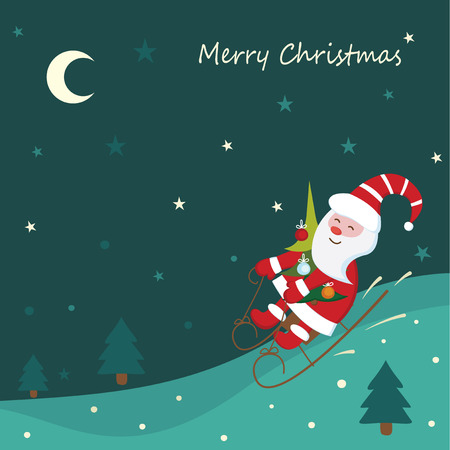 toboggan: Christmas vintage background with sledding Santa