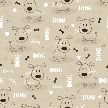 cute dog: Seamless pattern with cute dog Illustration