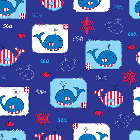 whales: Seamless pattern with cute whales