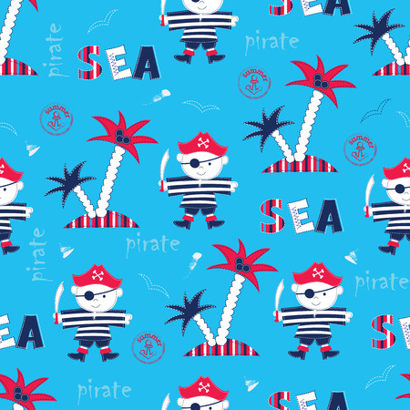 Seamless pattern with pirates, palms and lettering