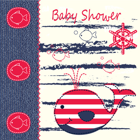 whale baby: Baby shower with cute whale
