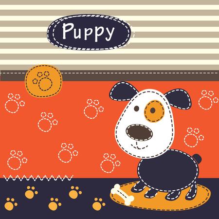 Bébé fond avec chien mignon pour le bébé, carte de voeux, la conception T-shirt Banque d'images - 46612694