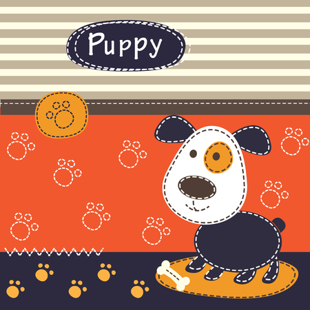 child and dog: Baby background with cute dog for baby shower, greeting card, T-shirt design Illustration