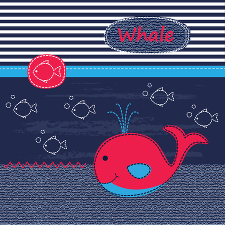 whale baby: Cute baby background with whale for baby shower, greeting card, T-shirt design
