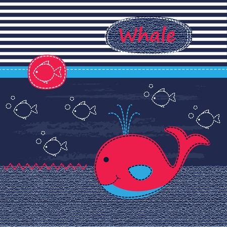 ballena azul: Fondo lindo bebé con la ballena para el bebé ducha, tarjetas de felicitación, diseño de la camiseta