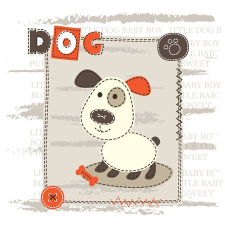 puppy love: Baby cute background with dog for T-shirt design, baby shower, greeting card
