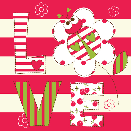 seasons cartoon: Cute baby background with ladybug for baby shower, greeting card, T-shirt design