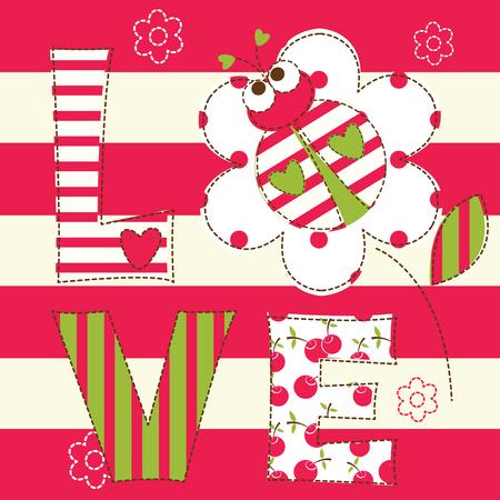 catarina caricatura: Fondo lindo bebé con la mariquita para el bebé ducha, tarjetas de felicitación, diseño de la camiseta