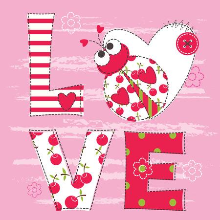 catarina caricatura: Fondo lindo beb� con la mariquita para el beb� ducha, tarjetas de felicitaci�n, dise�o de la camiseta