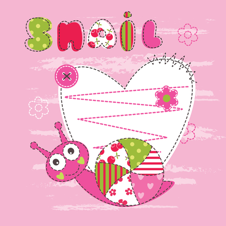 Cute baby background with snail for baby shower, greeting card, T-shirt design