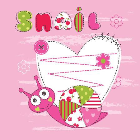 fondo para bebe: Fondo lindo bebé con el caracol para el bebé ducha, tarjetas de felicitación, diseño de la camiseta Vectores