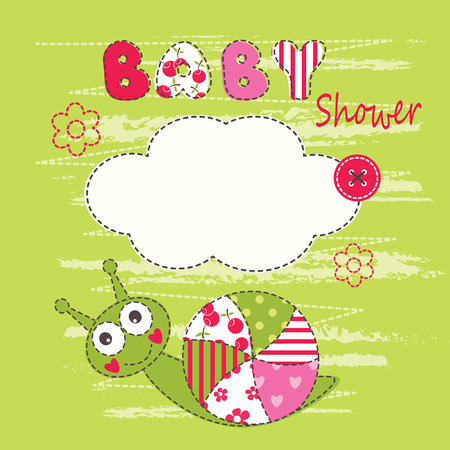 children clothing: Cute baby background with snail for baby shower, greeting card, T-shirt design