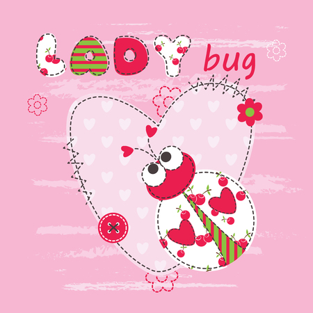 cute cartoon kids: Baby background with cute ladybug for baby shower, greeting card, T-shirt design