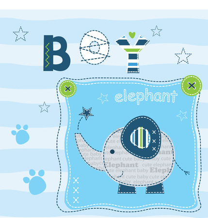funny baby: Baby background with cute elephant for t-shirt design, baby shower, greeting card Illustration