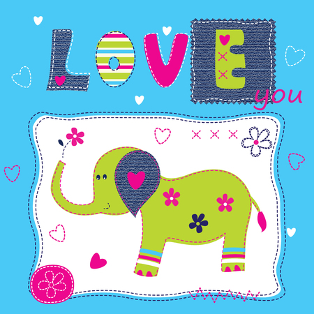 funny baby: Cute baby background with elephant for baby shower, greeting card, t-shirt