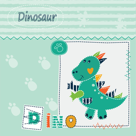 dinosaur cute: Cute kid background with dinosaur for t-shirt, greeting card, baby shower