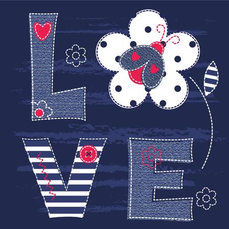catarina caricatura: Fondo lindo bebé con la mariquita y letras para baby shower, tarjetas de felicitación, diseño de la camiseta