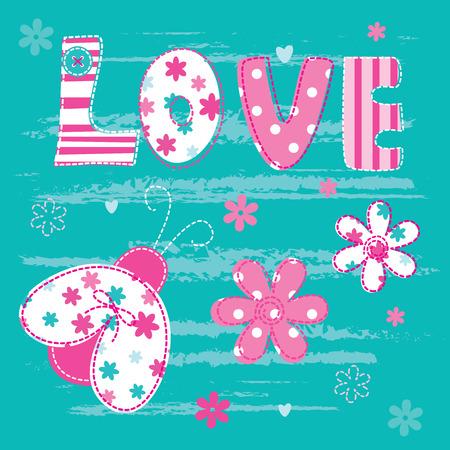 catarina caricatura: Fondo lindo bebé con las letras y la mariquita para tarjeta de felicitación, baby shower, diseño de la camiseta