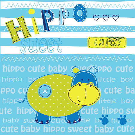 tshirt design: Cute baby background with hippo for t-shirt design. baby shower, greeting card Illustration