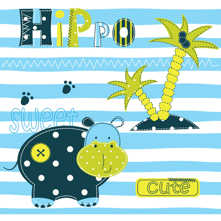 funny baby: Background with cute hippo, palm and lettering for baby shower, t-shirt design, greeting card