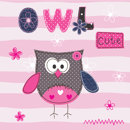 baby background: Baby background with cute owl for t-shirt design, baby shower, greeting card Illustration