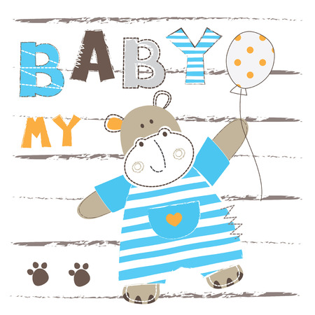 Background with cute little hippo for baby shower, greeting card, t-shirt design Illustration