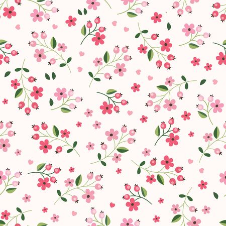 paper background: Floral seamless pattern with abstract flowers