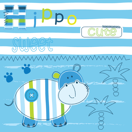baby animals: Background with cute little hippo, lettering and palm for baby shower, greeting card, t-shirt design