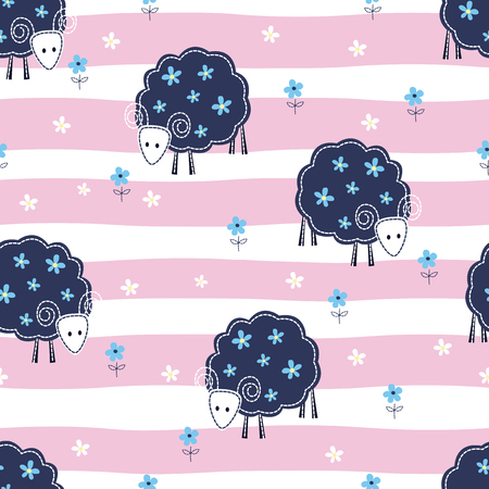 funny baby: Seamless pattern with sheep and flowers