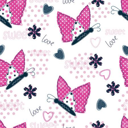 corazones azules: Patrón sin fisuras con las mariposas, corazones y flores Vectores