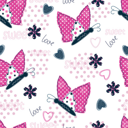 pink flower: Seamless pattern with butterflies, hearts and flowers