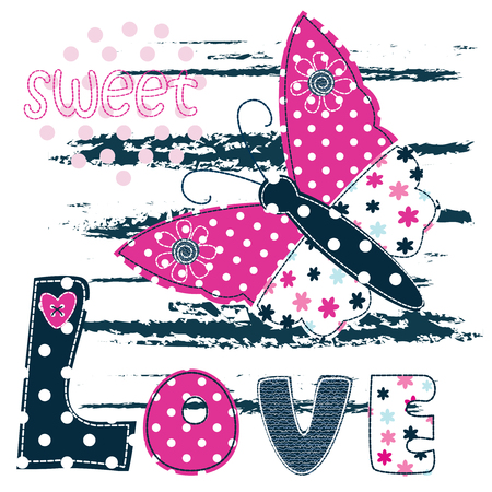 pink flower: Baby background with butterfly for baby shower, t-shirt design, greeting card Illustration