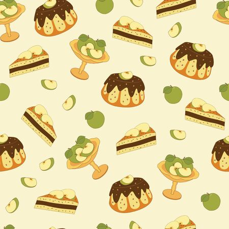 apple pie: Seamless pattern with apple pie and apples Illustration