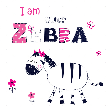 tshirt design: Background with cute zebra with floral elements and lettering for t-shirt design, baby shower, greeting card Illustration
