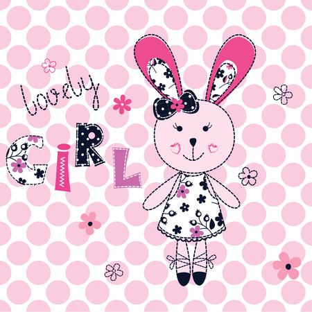 bunny girl: Background with cute bunny girl , lettering and floral elements Illustration