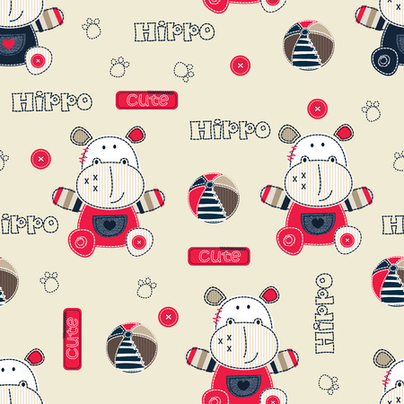 Seamless pattern with cartoon hippo, balls and lettering