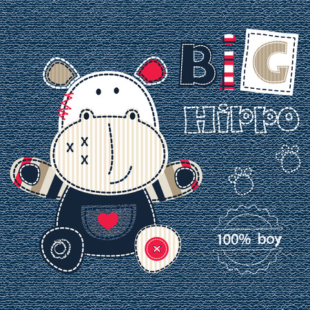 jeans background: Jeans background with cartoon little hippo