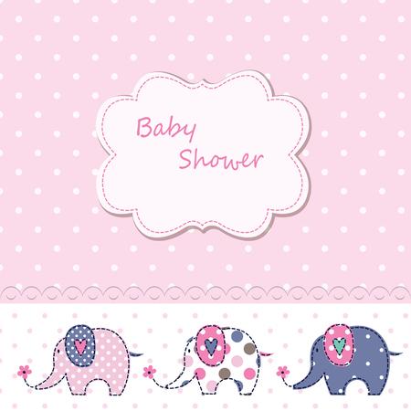 Baby shower with cute cartoon elephants 矢量图像