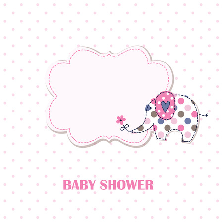 Baby shower with cute cartoon elephant Vektorové ilustrace