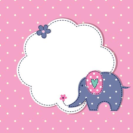 fondo para bebe: ducha de beb� con el elefante lindo de la historieta, del modelo de lunares y el espacio para el texto Vectores