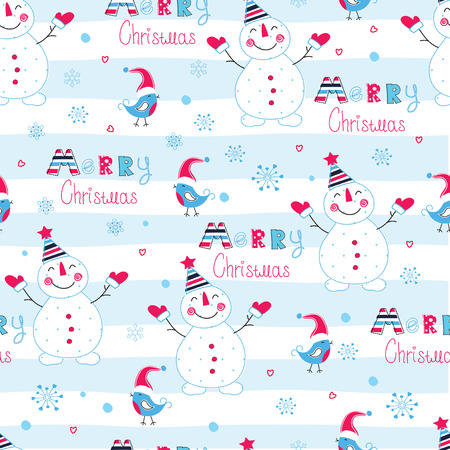 Christmas seamless pattern with snowmen, birds ,lettering and snowflakes