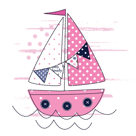 sailing ship: Vector illustration with cute sailing ship for kids design