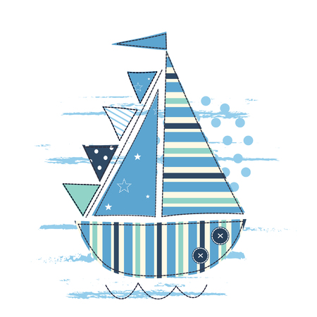 desing: Vector illustration with cute sailing ship for kids design