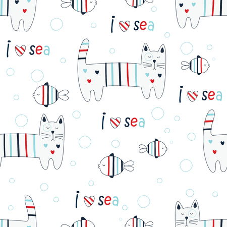 Seamless pattern with doodle cute cats and fish