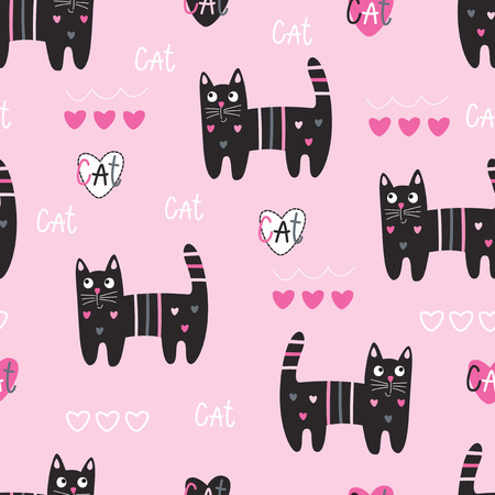 Seamless pattern with cute black cats, lettering and graphic elements. Vector cartoon illustration.